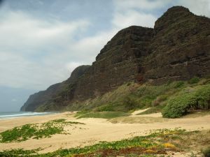 Polihale Beach, on the west coast of Kauai, Hawaii
