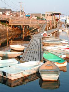 A dock full of dinghies in Maine