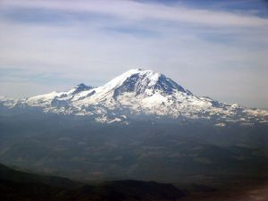 Mount Rainier in Washington state, seen from the air